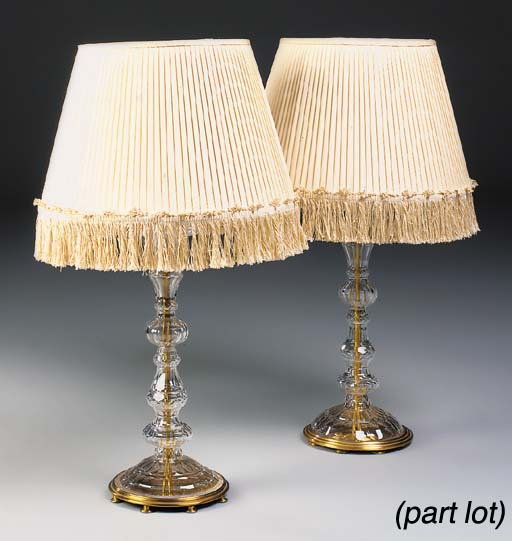 A PAIR OF GLASS AND GILT-METAL