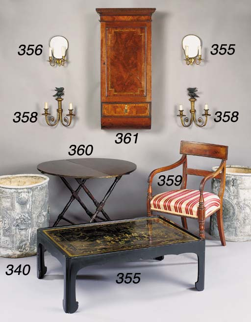 A PAIR OF GILTWOOD AND EBONISE
