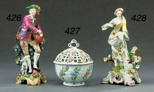 A Derby porcelain bowl and pie