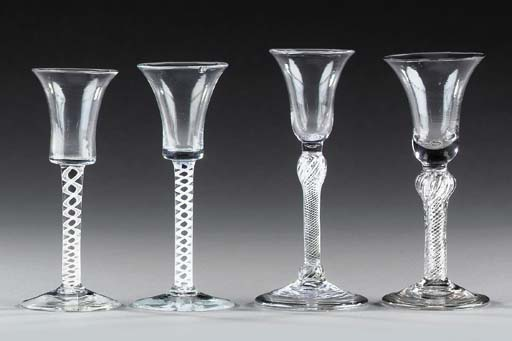 Two wine-glasses with air-twis