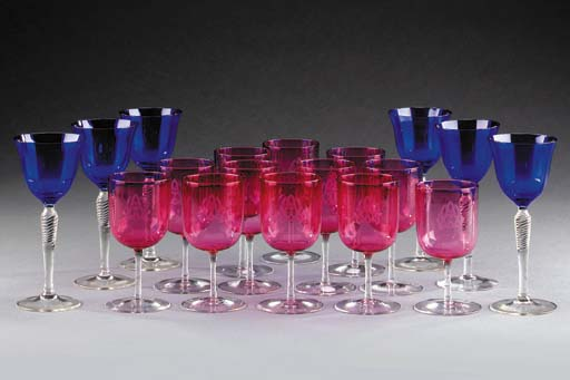 Six wine-glasses with flared f