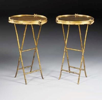 A pair of gilt-bronze circular
