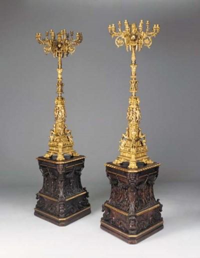 A pair of Venetian gilt-bronze