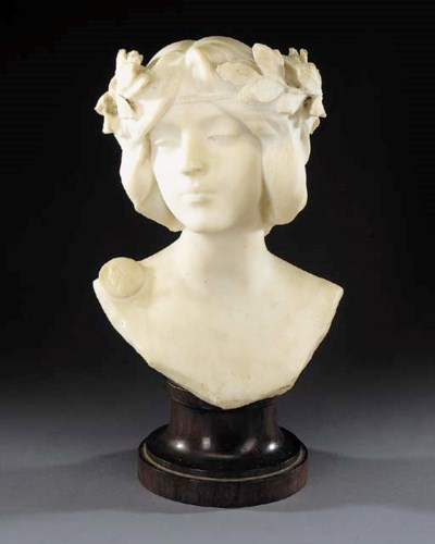 A white marble bust of Flore