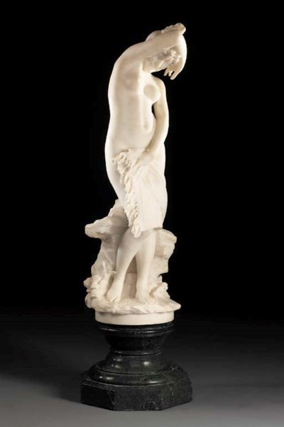 A Florentine white marble figu