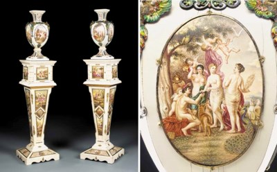 A pair of Viennese ivory, silv