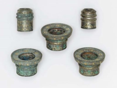 A SET OF FIVE GOLD AND SILVER-