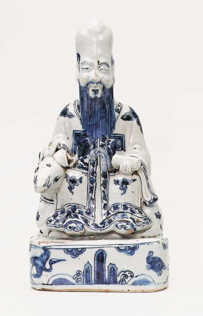 A LATE MING BLUE AND WHITE FIG