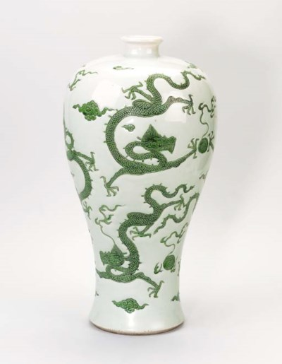 A GREEN-ENAMELLED 'DRAGON' VAS
