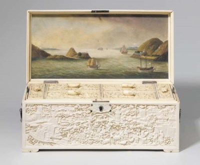 A RARE SILVER-MOUNTED IVORY AN