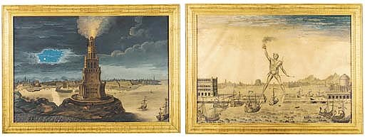 A PAIR OF GOUACHES DEPICTING T