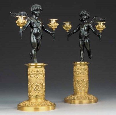 A PAIR OF EMPIRE ORMOLU AND BR