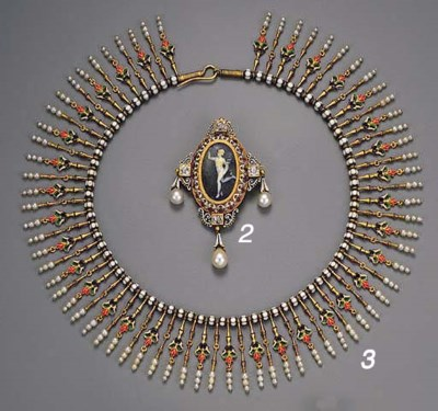 An enamel and pearl necklace,