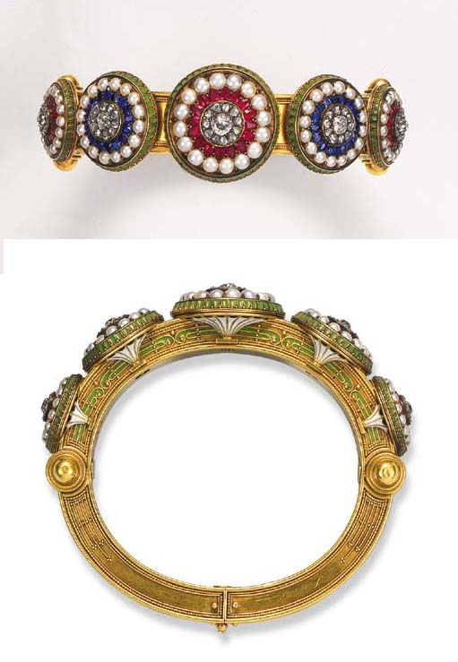 An antique gem-set and enamel bangle, by Carlo Giuliano
