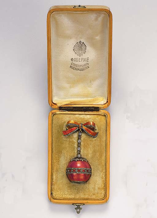 An enamel and diamond ball watch brooch, by Faberge