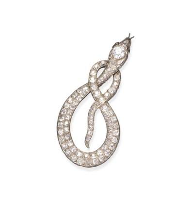 A diamond snake brooch