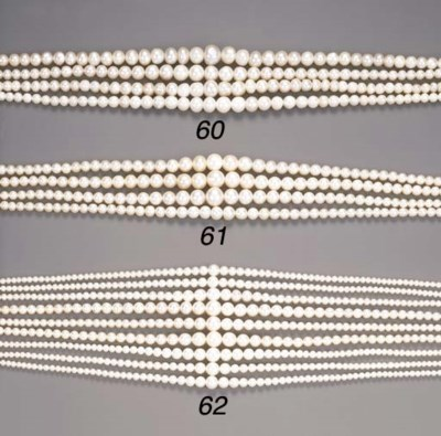 A group of four pearl necklace