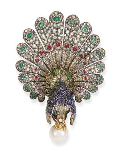 A fine antique gem-set peacock