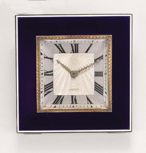 An Art Deco enamel desk clock, by Cartier