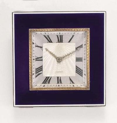 An Art Deco enamel desk clock,