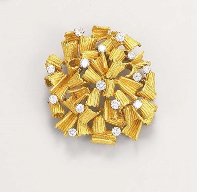 A diamond-set abstract brooch,