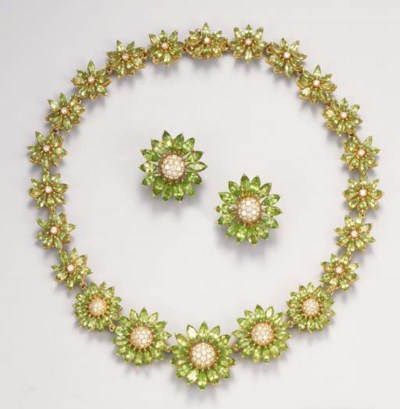 A diamond and peridot necklace