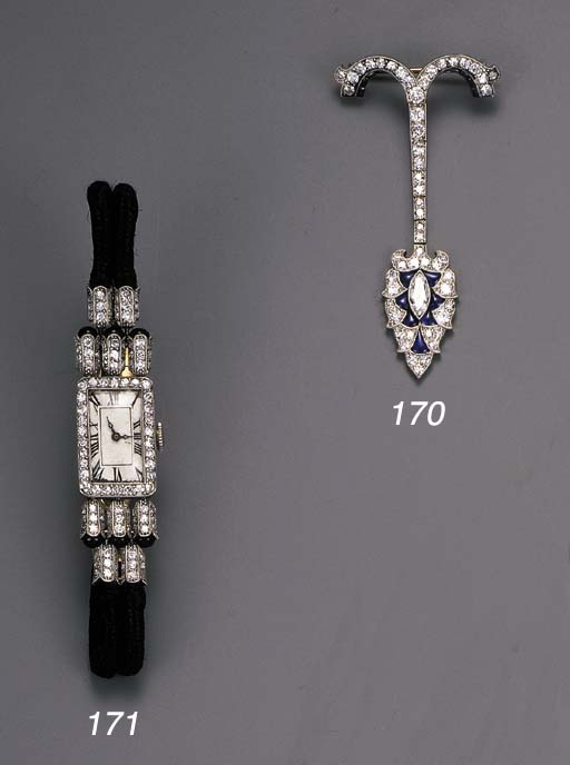 An Art Deco diamond and sapphire Pendant Brooch, by Georges Thibault