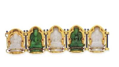 An antique carved jade bracele
