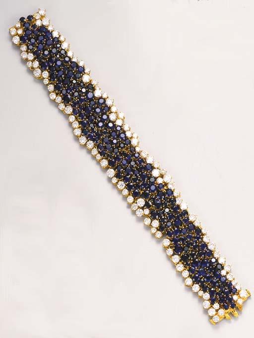 A sapphire and diamond bracelet, by Mouawad