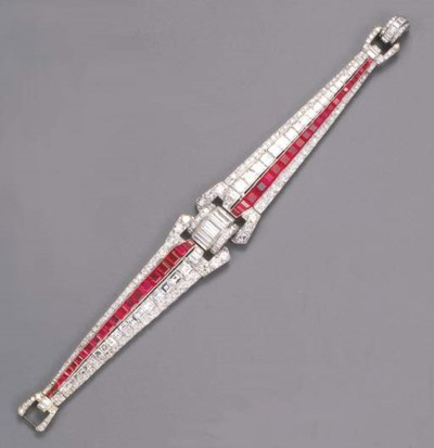 An elegant Art Deco ruby and d