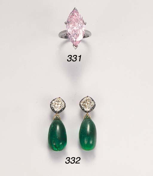 A light purplish-pink diamond ring