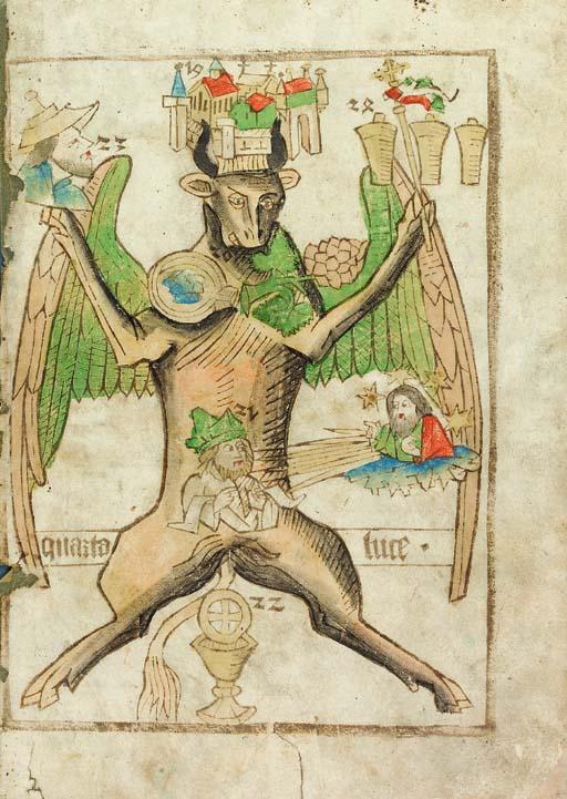 Ars Memorandi. BLOCKBOOK. Single leaf, fo. 30, representing The Gospel of St. Luke, chapters 19-24. Schreiber xyl. edition III. [Germany (?Nuremberg): c.1475-80?].