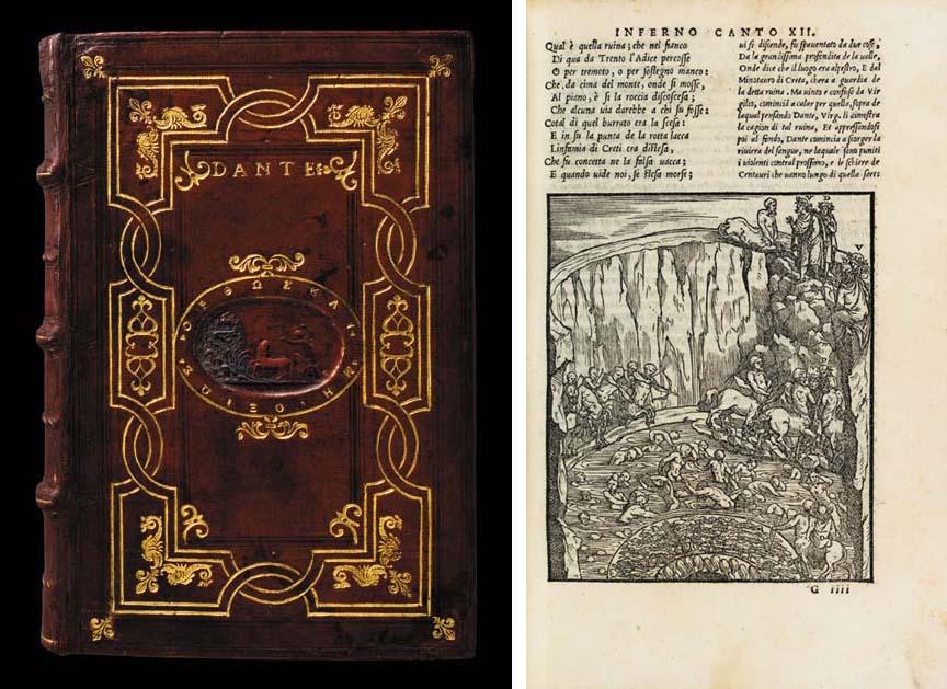 DANTE ALIGHIERI (1265-1321). La Comedia. Edited and with commentary by Alessandro Vellutello. Venice: Francesco Marcolini for A. Vellutello, June 1544.
