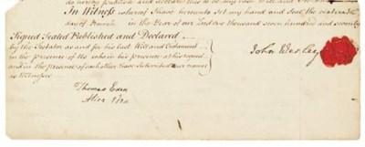 WESLEY, John (1703-1791). Docu