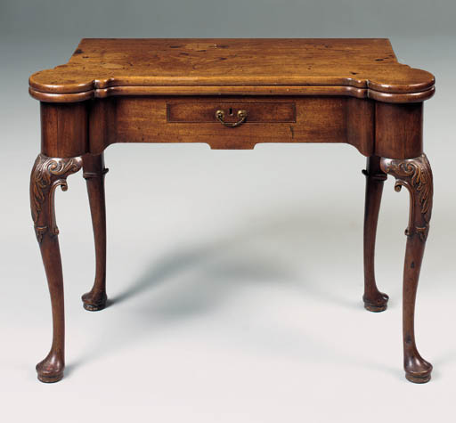 A GEORGE II MAHOGANY CARD-TABLE