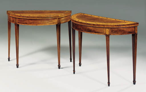 A NEAR PAIR OF GEORGE III MAHOGANY AND MARQUETRY CARD-TABLES