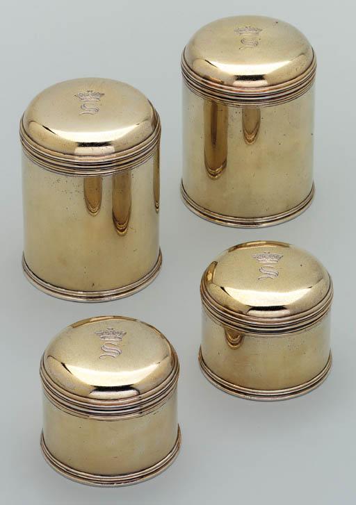 Four George IV silver-gilt dressing-pots