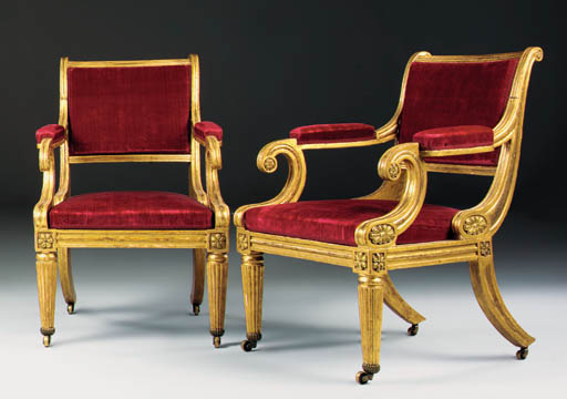 A PAIR OF REGENCY IV BRASS-MOUNTED GILTWOOD OPEN ARMCHAIRS