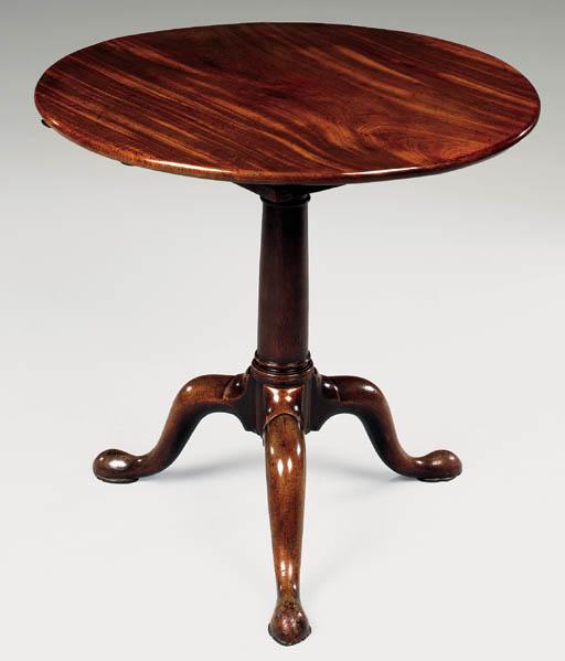 A GEORGE II MAHOGANY CIRCULAR TRIPOD TABLE
