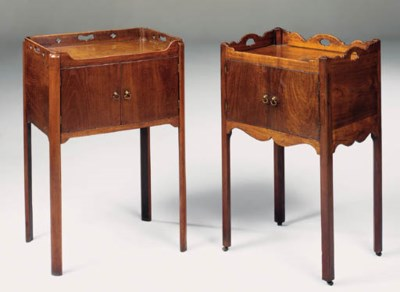 TWO GEORGE III MAHOGANY BEDSID