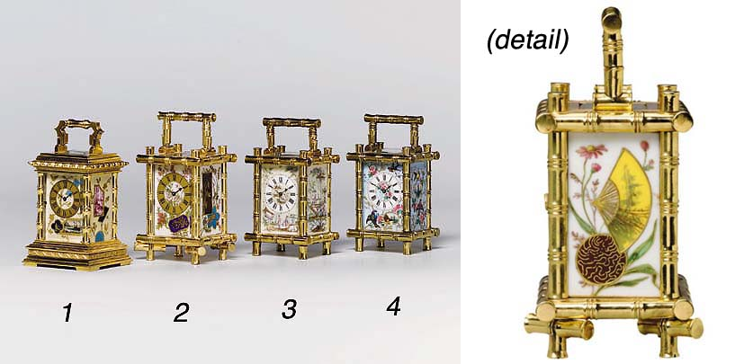 A French brass and porcelain-m