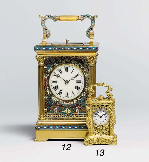 A French gilt-brass and champl