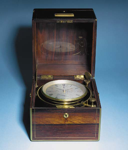 A Victorian Brass-bound Rosewood Seven-day Marine