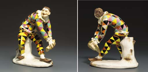 A Meissen figure of the Greeting Harlequin