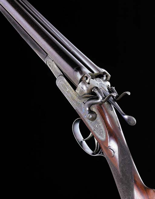 AN UNUSUAL QUADRUPLE-GRIP 12-BORE SIDELOCK HAMMER GUN BY W. & C. SCOTT, NO. 5863