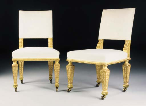 A PAIR OF MID-VICTORIAN GILTWOOD SIDE CHAIRS