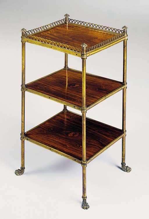 A REGENCY ORMOLU AND ROSEWOOD ETAGERE