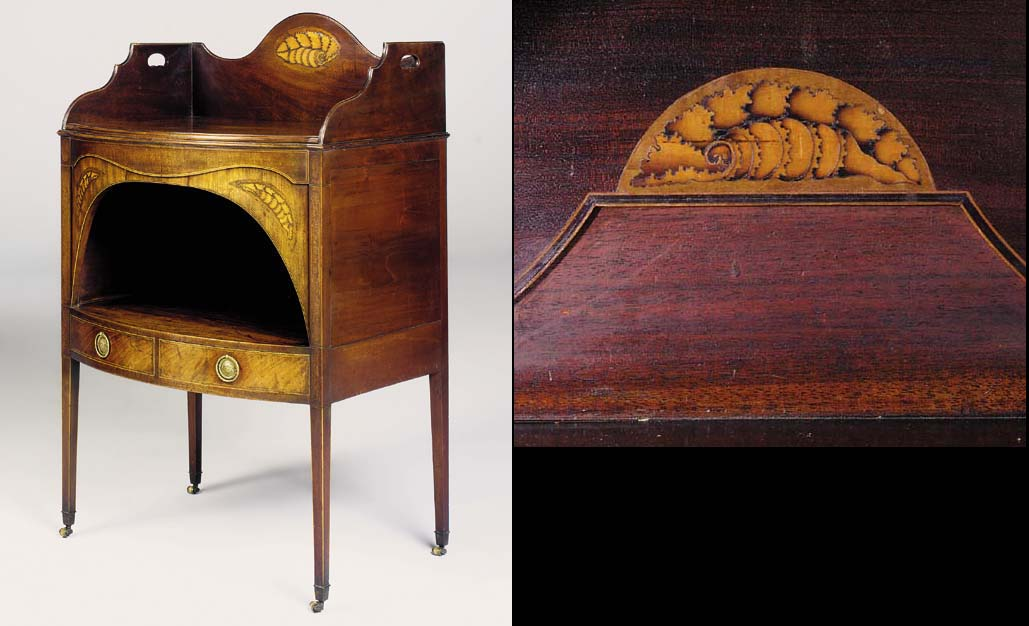 A GEORGE III MAHOGANY AND MARQUETRY WASHSTAND