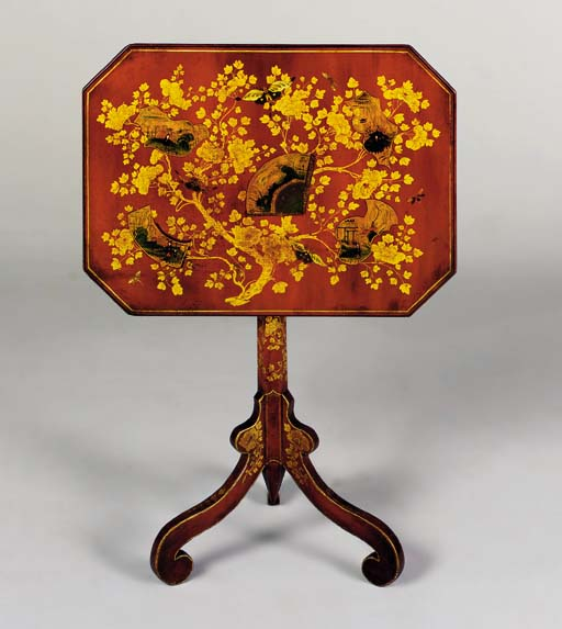 A REGENCY RED AND GILT-JAPANNED TRIPOD TABLE