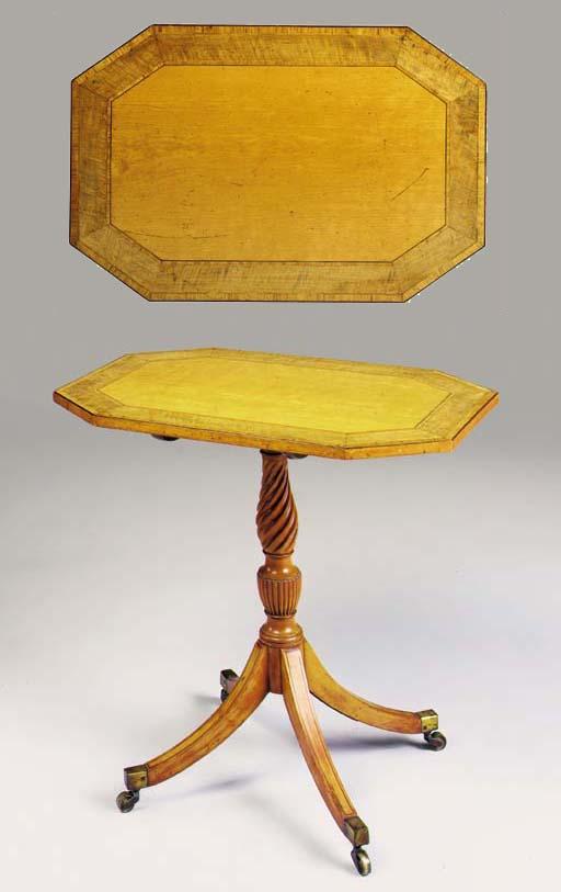 A GEORGE III SATINWOOD PEDESTAL TABLE